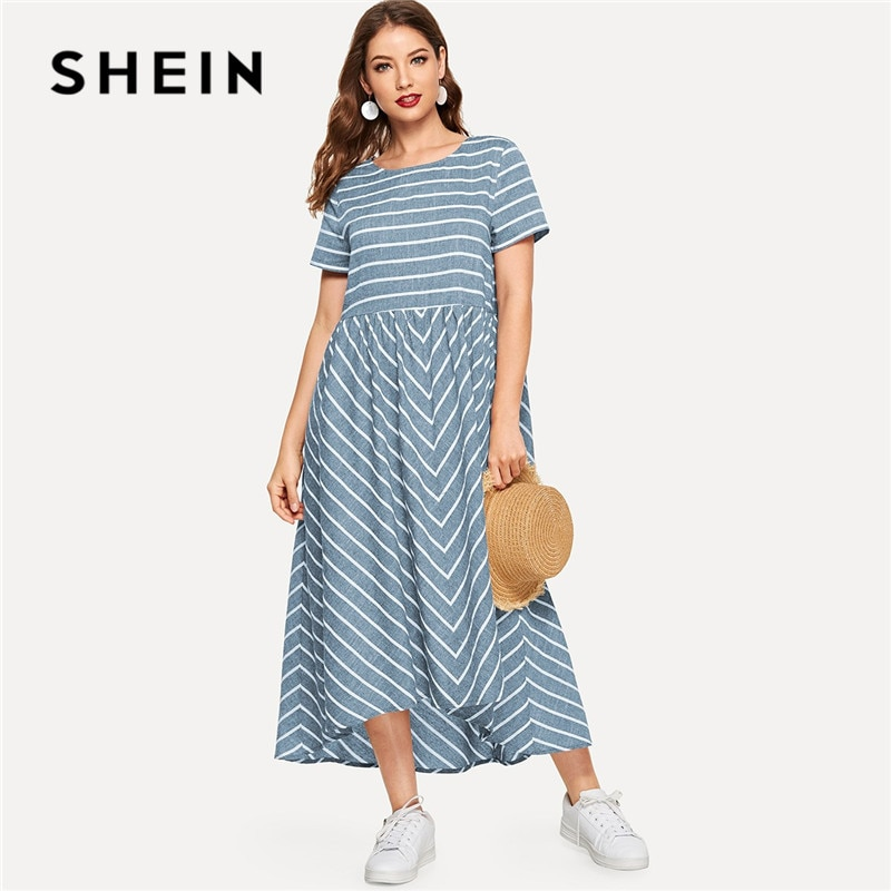 SHEIN Striped Chevron Print Smock Maxi